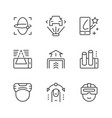 set line icons augmented reality vector image vector image