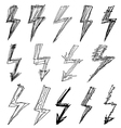 set of black lightning icon vector image