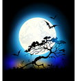 Silhouette of tree and Moon vector image vector image