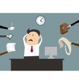 Stressed cartooned businessman vector image