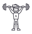 strong athlete with weights barbellweightlifting vector image vector image