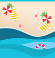 summer beach red umbrella yellow beach mat swimmin vector image