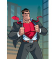 superhero under cover in city vector image vector image