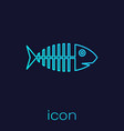 turquoise fish skeleton line icon isolated on blue vector image vector image