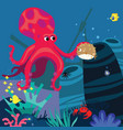 underwater stage with octopus cartoon vector image vector image