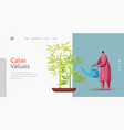 woman caring plant landing page template feng vector image vector image