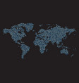 world map made of blue dots vector image