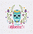 viva mexico colorful poster with decorative skull vector image