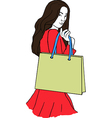young woman with a shopping bag vector image