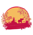 Abstract card with Asian buildings and elephant vector image vector image