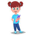 back to school cute girl with books in casual vector image vector image