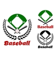 Baseball heraldic emblems or badges vector image