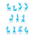 Blue Llama with Various Expressions vector image vector image