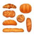 bread bakery realistic icon set vector image