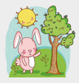 bunny in the forest doodle cartoon vector image vector image
