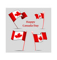 canada day set with national flags vector image