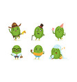 cartoon cactus character isolated on white vector image vector image