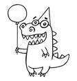 Cartoon dragon congratulates vector image