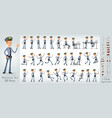 cartoon flat police boy character big set vector image vector image
