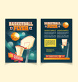 cartoon flyers to invite on basketball game vector image vector image