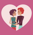 couple in love and heart shape vector image