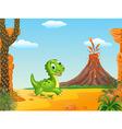 Cute baby dinosaur running vector image vector image