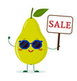 cute pear green cartoon character in sunglasses vector image vector image
