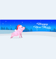cute pig red hat happy new year merry christmas vector image vector image