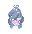 cute smiling cartoon hippo character vector image vector image
