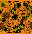 decorative seamless pattern with autumn pumpkins vector image vector image