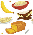 desserts types banana with peel and bread bakery vector image