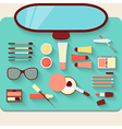 Dressing table with cosmetics Top view vector image vector image