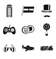educational game icons set simple style vector image vector image