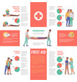first aid emergency infographics vector image vector image