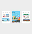 flat city transport posters vector image vector image