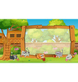 Frame design with cats in garden vector image vector image