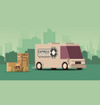 grey delivery truck on city landscape background vector image vector image
