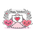 happy hearts couple with love card vector image vector image