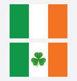 ireland flag with shamrock leaf isolated vector image vector image