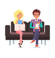 man and woman on couch poster vector image vector image