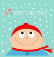 merry christmas candy cane kid face looking up to vector image