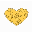 modern thumbs up form heart isolated vector image