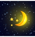 Moon and stars background with evening sky vector image vector image