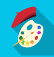 painting palette and beret icon in flat style vector image vector image