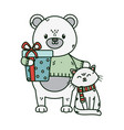 polar bear and cat with wrapped gift celebration vector image vector image