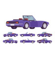 purple cabriolet car set vector image