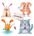 rabbit fish cat - set animals vector image