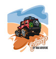 red suv on a deserted hill against a blue sky in vector image vector image