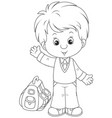 schoolboy with his schoolbag vector image vector image