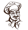 Senior chef wearing hat and uniform Hand drawing vector image vector image